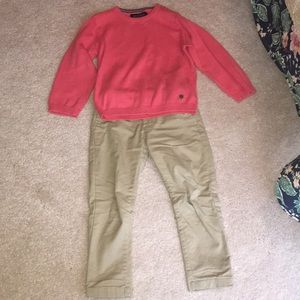 Knit sweater with khaki pants for toddler boys